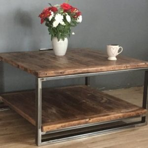 Reclaimed wood & industrial steel coffee table