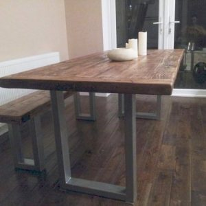 Chunky reclaimed wood table & bench