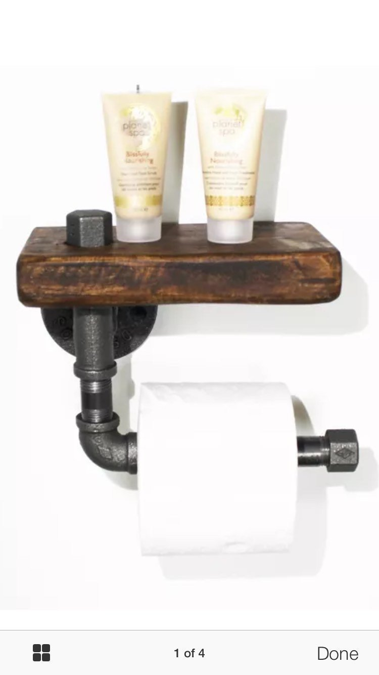 Industrial chic toilet roll holder and towel rail set