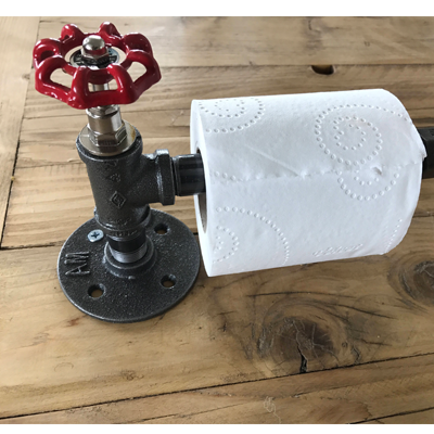 Toilet roll holder with red tap