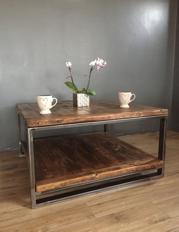 Reclaimed Wood Industrial Steel Coffee Table
