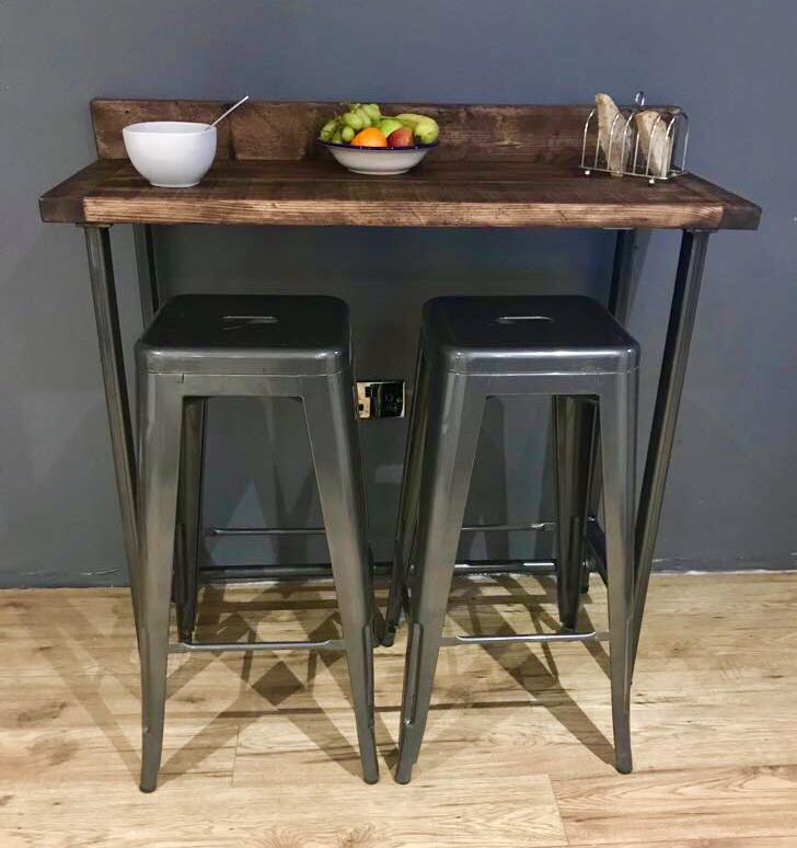 Reclaimed Wood Breakfast Bar Table & Two Stools