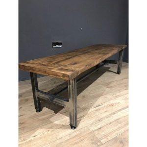 Reclaimed Wood Coffee Table With Connecting Bar