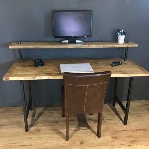 Reclaimed Wood PC Table With Monitor Stand