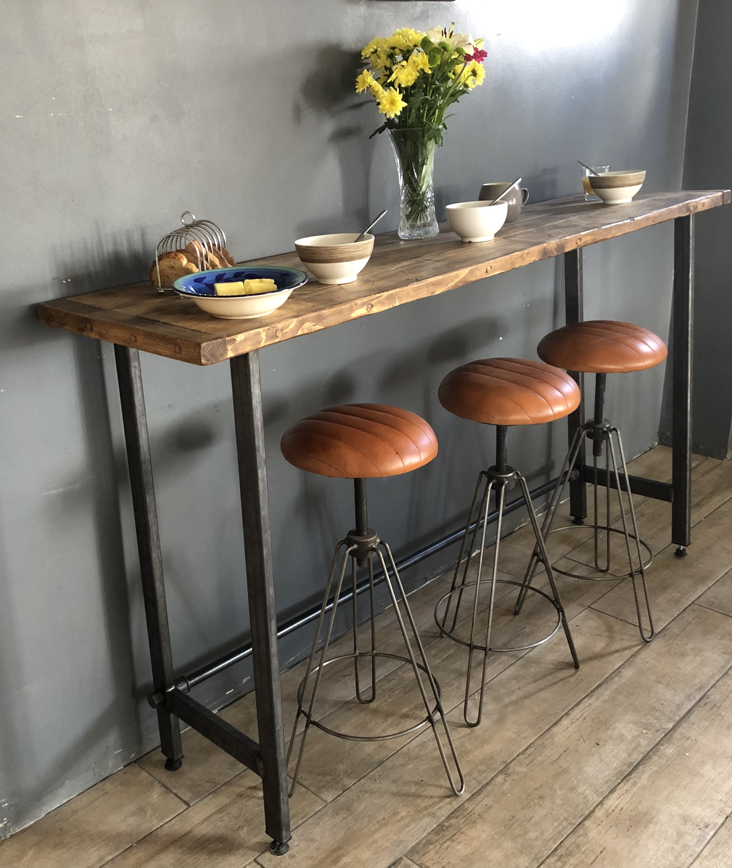 Excellent Reclaimed Wood Breakfast Bar Table Bralicious Painted Fabric Chair Ideas Braliciousco