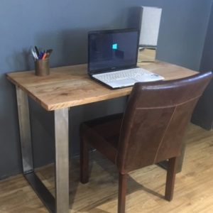 Solid Oak PC/Writing/Dressing Table With Square Silver Legs
