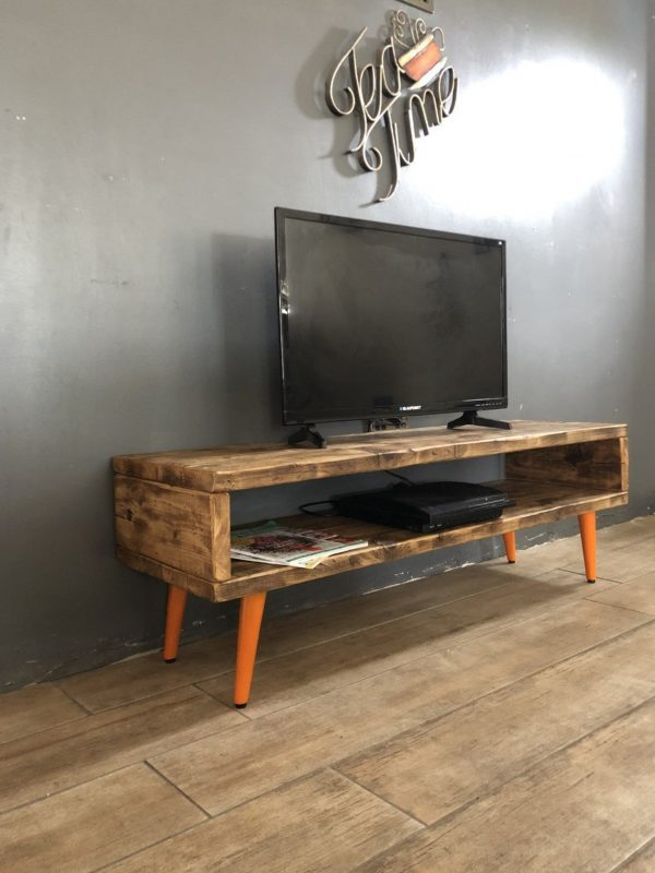 Reclaimed Wood TV Stand/Cabinet 43cm High / Burnt Orange Legs / Mid Century